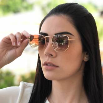 oculos de sol hexagonal rose com marrom elisa new 2