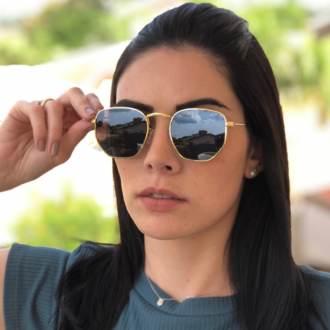oculos de sol hexagonal dourado elisa new 1