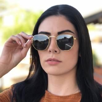 oculos de sol hexagonal dourado com verde elisa new 1