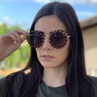 saline.com.br oculos de sol redondo olga marrom com dourado 1
