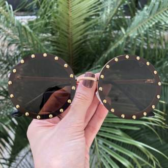 saline.com.br oculos de sol redondo olga marrom com dourado