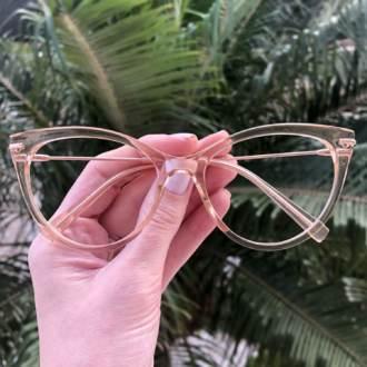 safine com br oculos de grau gatinho dourado transparente katy