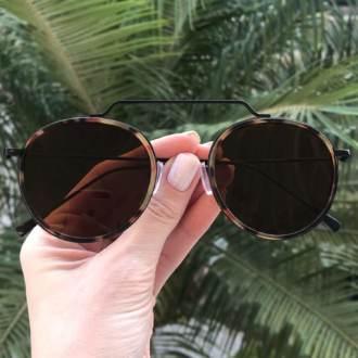 safine com br oculos de sol redondo marrom com tartaruga ivy new 3