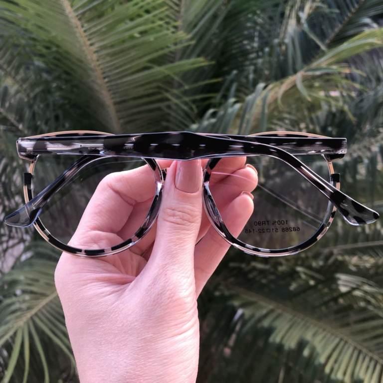 Óculos de Grau Redondo Tartaruga com Rosa Eva 2.0 - Safine