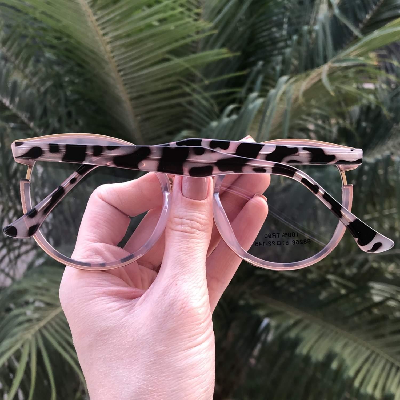 Óculos de Grau Redondo Nude com Tartaruga Eva 2.0 - Safine