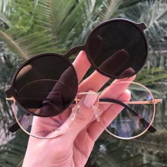 safine com br oculos 2 em 1 redondo marrom com rose lolo