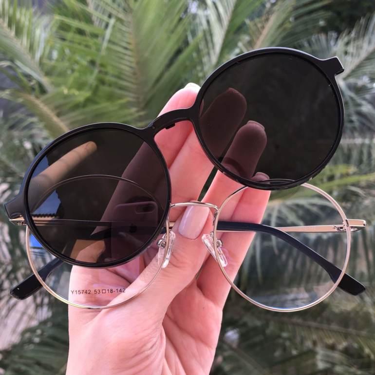 safine com br oculos 2 em 1 redondo preto com prata lolo 3