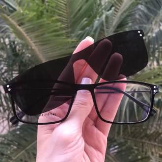 safine com br oculos 2 em 1 retangular preto new