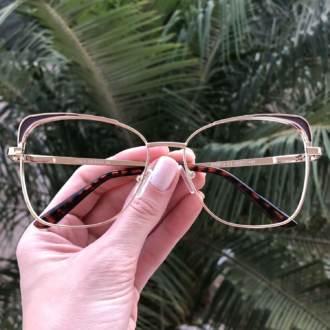 safine com br oculos de grau quadrado dourado com marrom eli 3