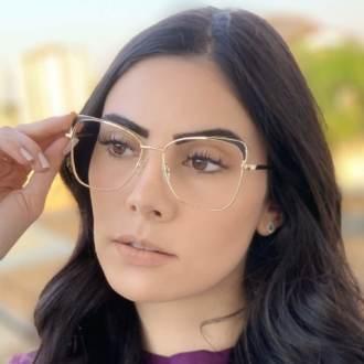 safine com br oculos de grau quadrado dourado com preto eli 2