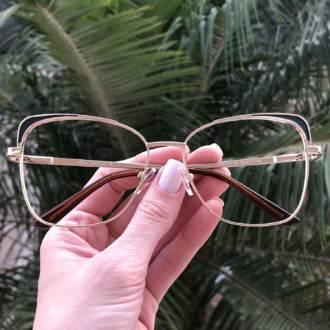 safine com br oculos de grau quadrado dourado com preto eli 3