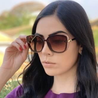 safine com br oculos de sol quadrado marrom renata