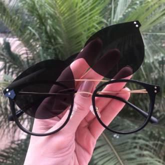 safine com br oculos 2 em 1 redondo dourado com preto babi 2