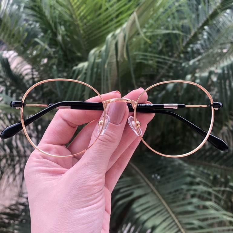 safine com br oculos 2 em 1 redondo dourado com preto mila 1