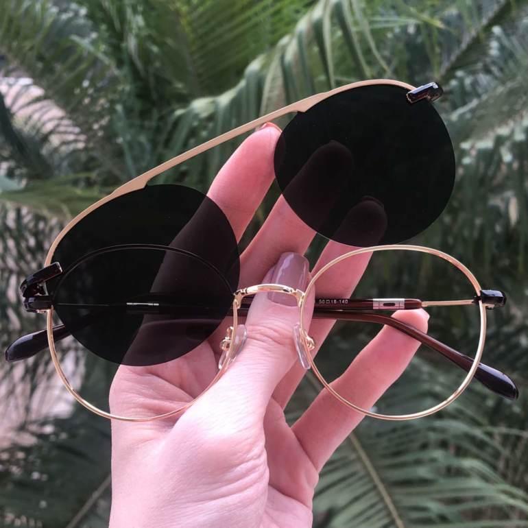 safine com br oculos 2 em 1 redondo dourado com verde mila