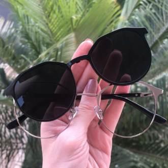 safine com br oculos 2 em 1 redondo grafite com preto nora 3