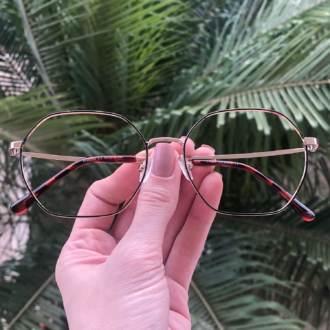 safine com br oculos de grau quadrado dourado com marrom carol