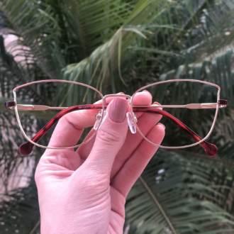 safine com br oculos de grau quadrado dourado com marsala lea 3