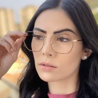 safine com br oculos de grau quadrado dourado com preto carol 4