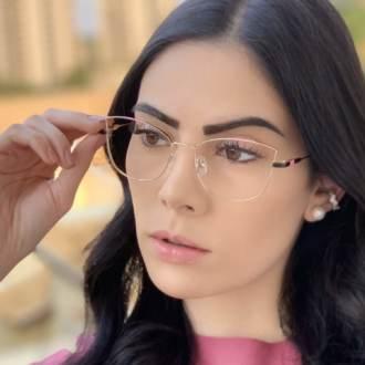 safine com br oculos de grau quadrado dourado com preto lea 2