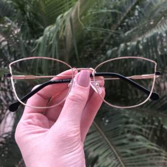 safine com br oculos de grau quadrado dourado com preto lea 3