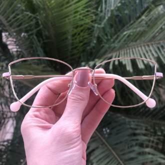 safine com br oculos de grau quadrado dourado com rosa lea
