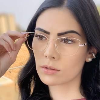 safine com br oculos de grau quadrado dourado com rosa lea 4