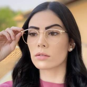 safine com br oculos de grau redondo dourado isa 4