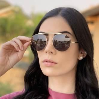 safine com br oculos de sol aviador preto com dourado milena