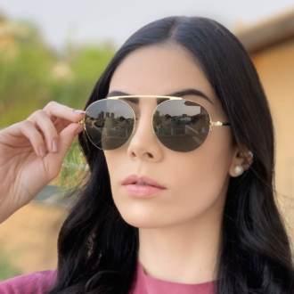safine com br oculos de sol aviador verde com dourado milena 2