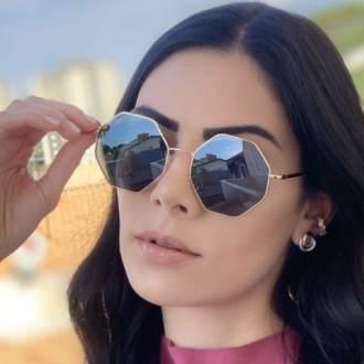 safine com br oculos de sol octagonal dourado com preto 3