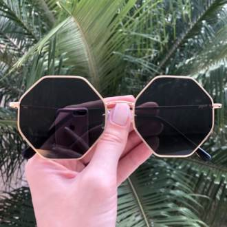 safine com br oculos de sol octagonal dourado com preto