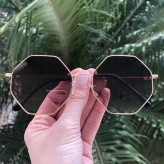 safine com br oculos de sol octagonal dourado degrade 2