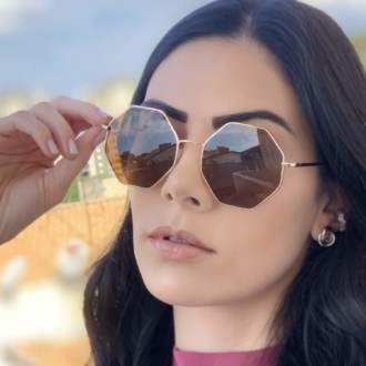 safine com br oculos de sol octagonal marrom 2