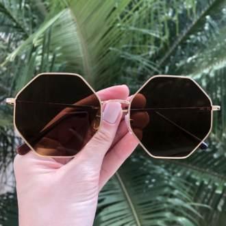 safine com br oculos de sol octagonal marrom 3