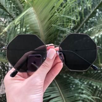 safine com br oculos de sol octagonal preto