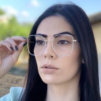 safine com br oculos de grau dourado com branco carla 1