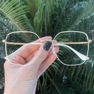 safine com br oculos de grau dourado com branco carla 3