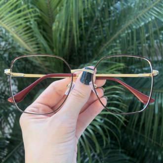 safine com br oculos de grau dourado com marsala carla