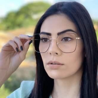 safine com br oculos de grau dourado com preto carla 2
