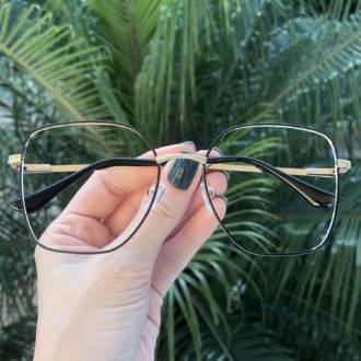 safine com br oculos de grau dourado com preto carla