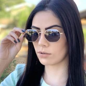 safine com br oculos de sol hexagonal preto com dourado luci 1