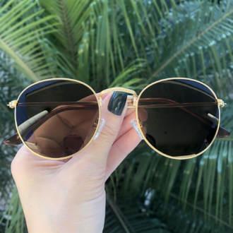 safine com br oculos de sol redondo dourado com marrom laura 2 0