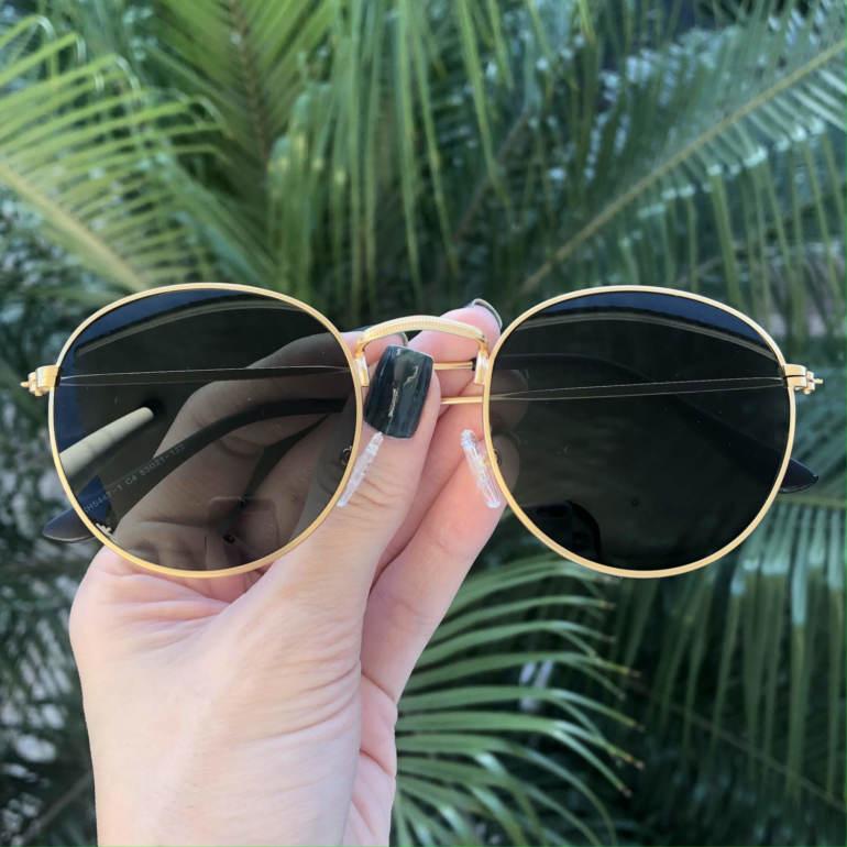 safine com br oculos de sol redondo dourado com verde laura 2 0