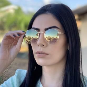 safine com br oculos de sol redondo dourado espelhado laura 2 0 2
