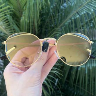 safine com br oculos de sol redondo dourado espelhado laura 2 0