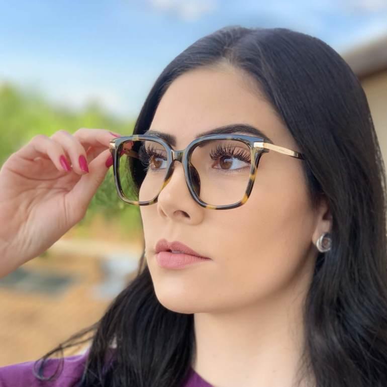 safine com br oculos de grau quadrado tartaruga gabi