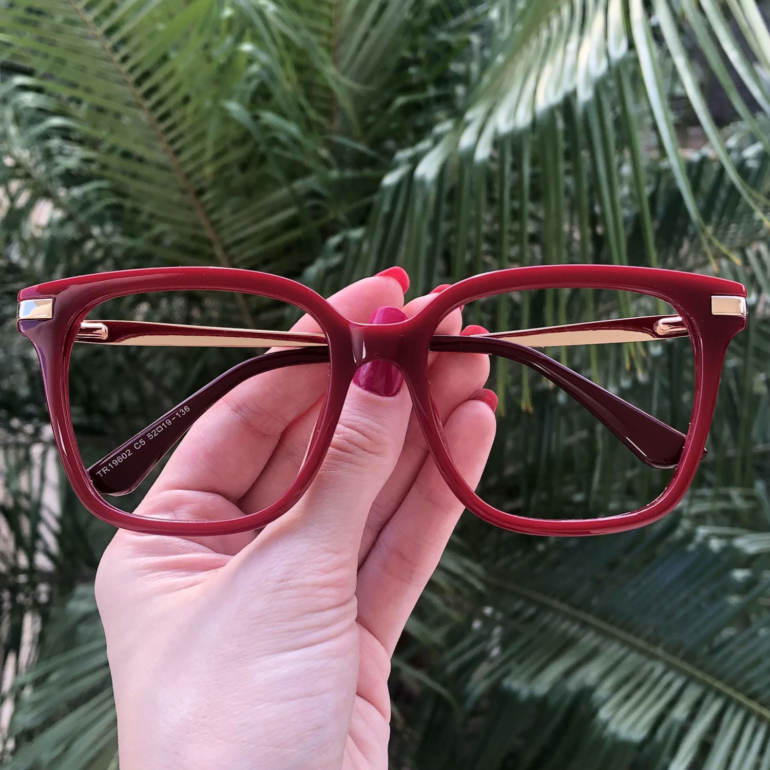safine com br oculos de grau quadrado vermelho gabi