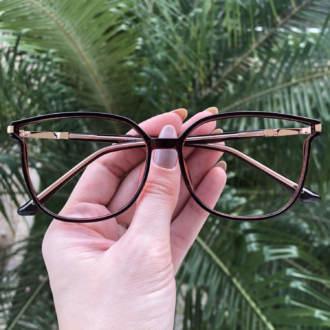 safine com br oculos de grau retangular marrom lulu